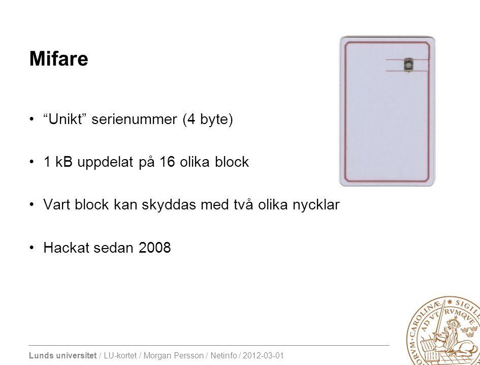 "Lunds universitet / LU-kortet / Morgan Persson / Netinfo / 2012-03-01 Mifare ""Unikt"" serienummer (4 byte) 1 kB uppdelat på 16 olika block Vart block k"