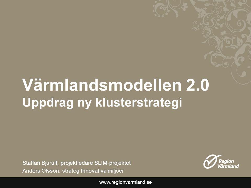 www.regionvarmland.se Värmlandsmodellen 2.0 Uppdrag ny klusterstrategi Staffan Bjurulf, projektledare SLIM-projektet Anders Olsson, strateg Innovativa miljöer