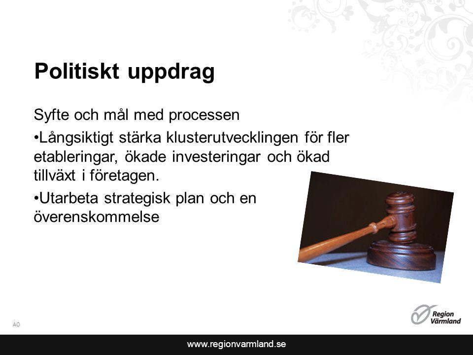 www.regionvarmland.se Politiskt uppdrag Syfte och mål med processen Långsiktigt stärka klusterutvecklingen för fler etableringar, ökade investeringar och ökad tillväxt i företagen.