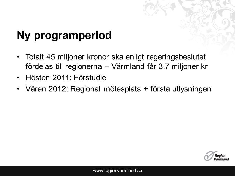 www.regionvarmland.se Ny programperiod Totalt 45 miljoner kronor ska enligt regeringsbeslutet fördelas till regionerna – Värmland får 3,7 miljoner kr Hösten 2011: Förstudie Våren 2012: Regional mötesplats + första utlysningen
