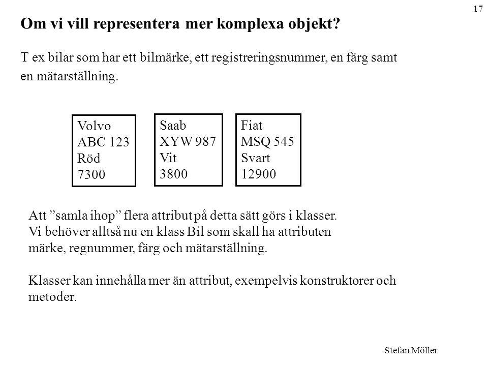 17 Stefan Möller Om vi vill representera mer komplexa objekt.