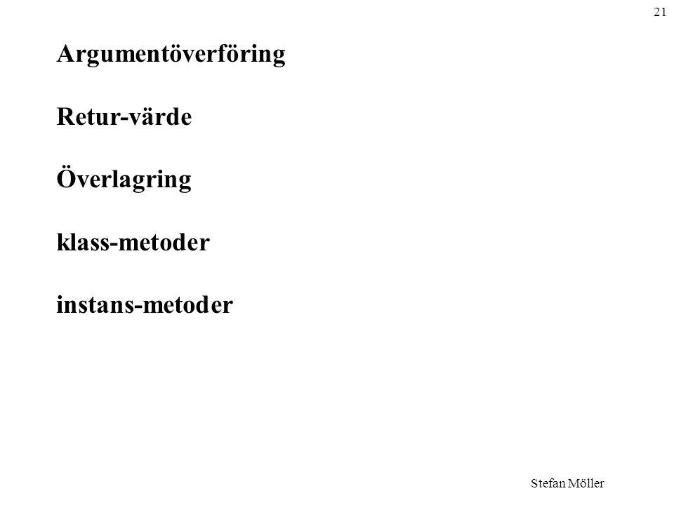 21 Stefan Möller Argumentöverföring Retur-värde Överlagring klass-metoder instans-metoder