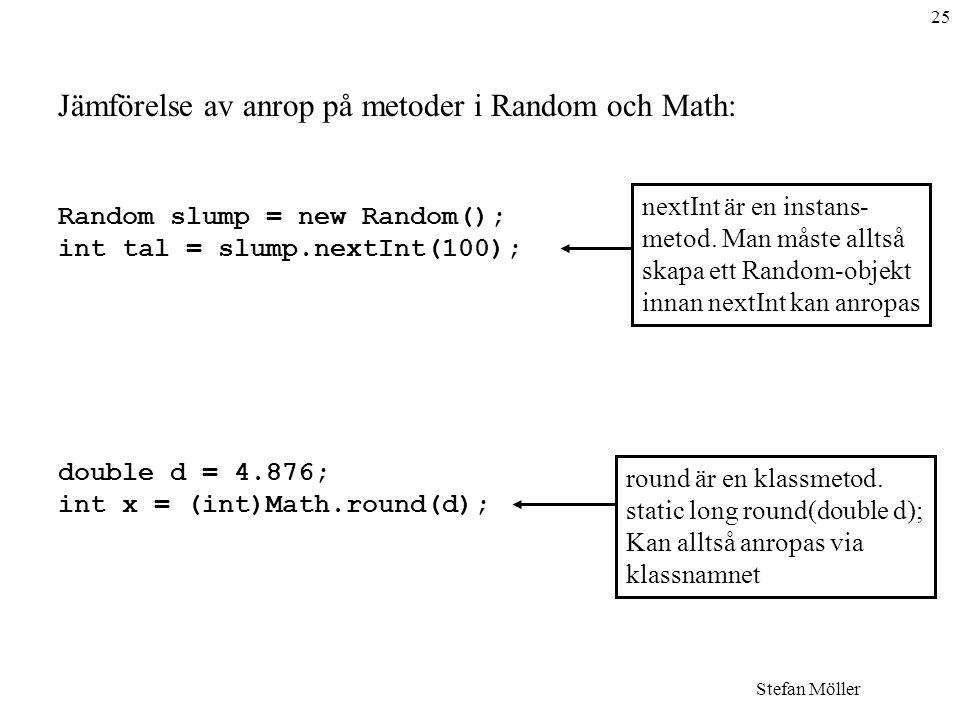 25 Stefan Möller Jämförelse av anrop på metoder i Random och Math: Random slump = new Random(); int tal = slump.nextInt(100); double d = 4.876; int x = (int)Math.round(d); nextInt är en instans- metod.