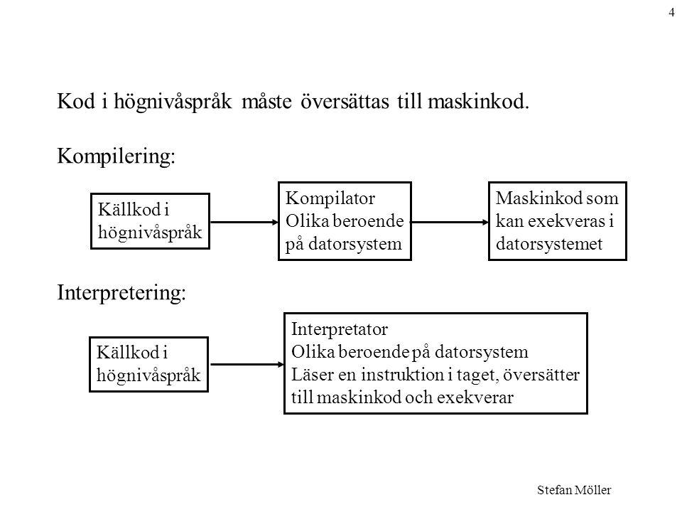 4 Stefan Möller Kod i högnivåspråk måste översättas till maskinkod.