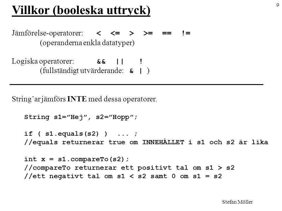 9 Stefan Möller Villkor (booleska uttryck) Jämförelse-operatorer: >= == != (operanderna enkla datatyper) Logiska operatorer: && || .
