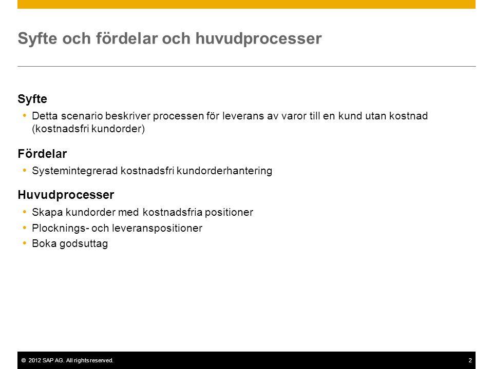 ©2012 SAP AG. All rights reserved.2 Syfte och fördelar och huvudprocesser Syfte  Detta scenario beskriver processen för leverans av varor till en kun