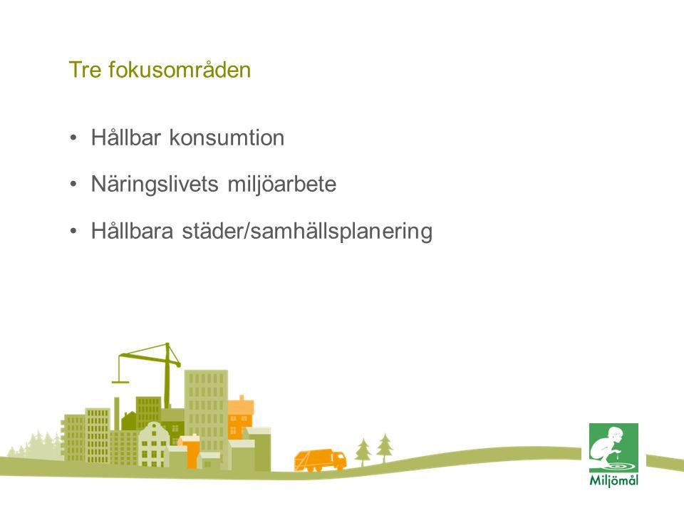 Tre fokusområden Hållbar konsumtion Näringslivets miljöarbete Hållbara städer/samhällsplanering