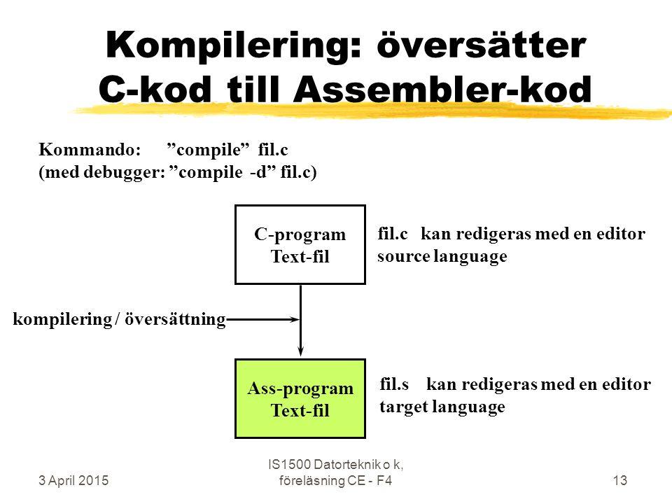 3 April 2015 IS1500 Datorteknik o k, föreläsning CE - F413 Kompilering: översätter C-kod till Assembler-kod C-program Text-fil Ass-program Text-fil kompilering / översättning fil.c kan redigeras med en editor source language fil.s kan redigeras med en editor target language Kommando: compile fil.c (med debugger: compile -d fil.c)