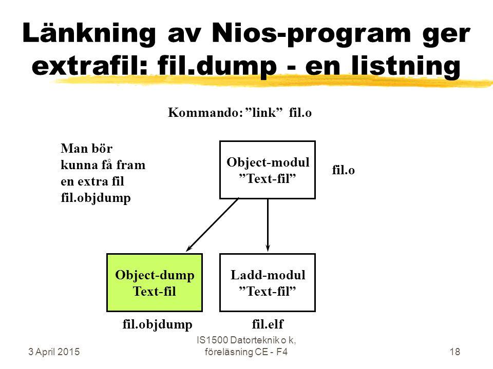 3 April 2015 IS1500 Datorteknik o k, föreläsning CE - F418 Länkning av Nios-program ger extrafil: fil.dump - en listning Object-modul Text-fil Ladd-modul Text-fil fil.o fil.elf Kommando: link fil.o Object-dump Text-fil fil.objdump Man bör kunna få fram en extra fil fil.objdump