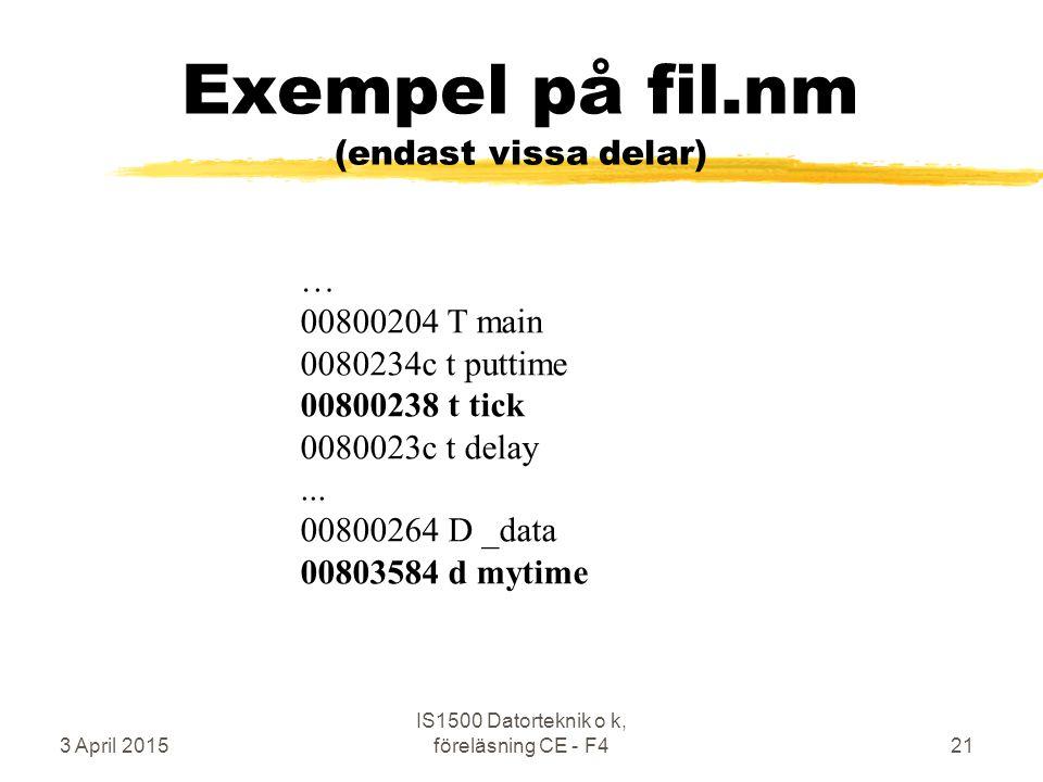 3 April 2015 IS1500 Datorteknik o k, föreläsning CE - F421 Exempel på fil.nm (endast vissa delar) … 00800204 T main 0080234c t puttime 00800238 t tick 0080023c t delay...