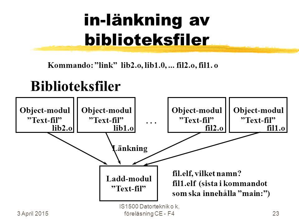 """3 April 2015 IS1500 Datorteknik o k, föreläsning CE - F423 in-länkning av biblioteksfiler Ladd-modul """"Text-fil"""" Länkning fil.elf, vilket namn? fil1.el"""