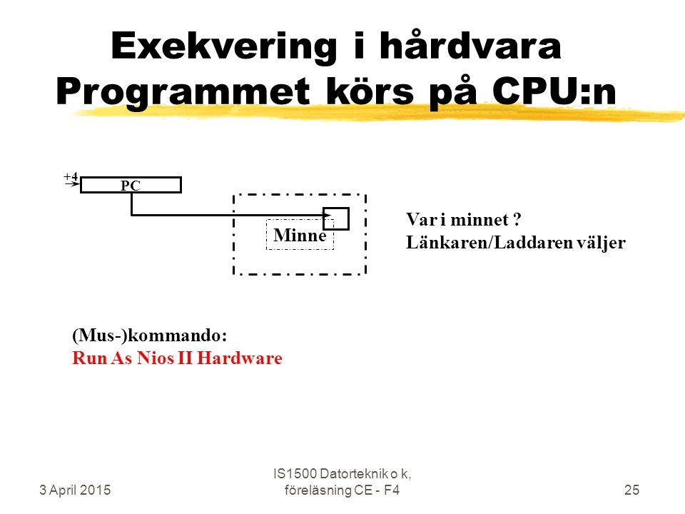 3 April 2015 IS1500 Datorteknik o k, föreläsning CE - F425 Minne Exekvering i hårdvara Programmet körs på CPU:n Var i minnet ? Länkaren/Laddaren välje