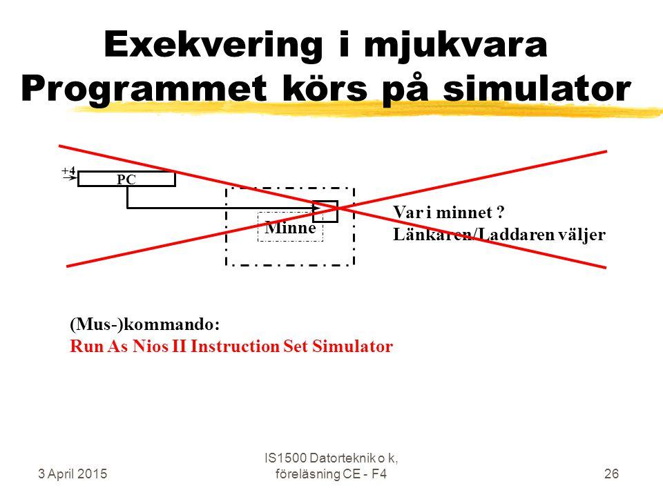 3 April 2015 IS1500 Datorteknik o k, föreläsning CE - F426 Minne Exekvering i mjukvara Programmet körs på simulator Var i minnet ? Länkaren/Laddaren v