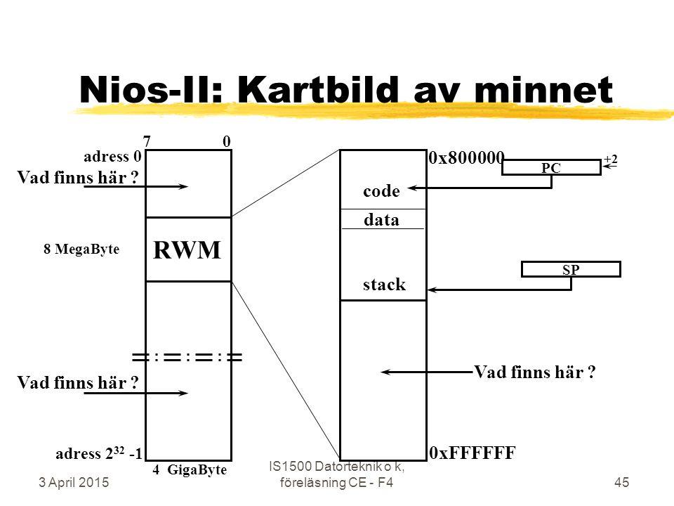 3 April 2015 IS1500 Datorteknik o k, föreläsning CE - F445 Nios-II: Kartbild av minnet adress 0 adress 2 32 -1 7 0 RWM data code stack 0x800000 0xFFFFFF PC +2 SP Vad finns här .