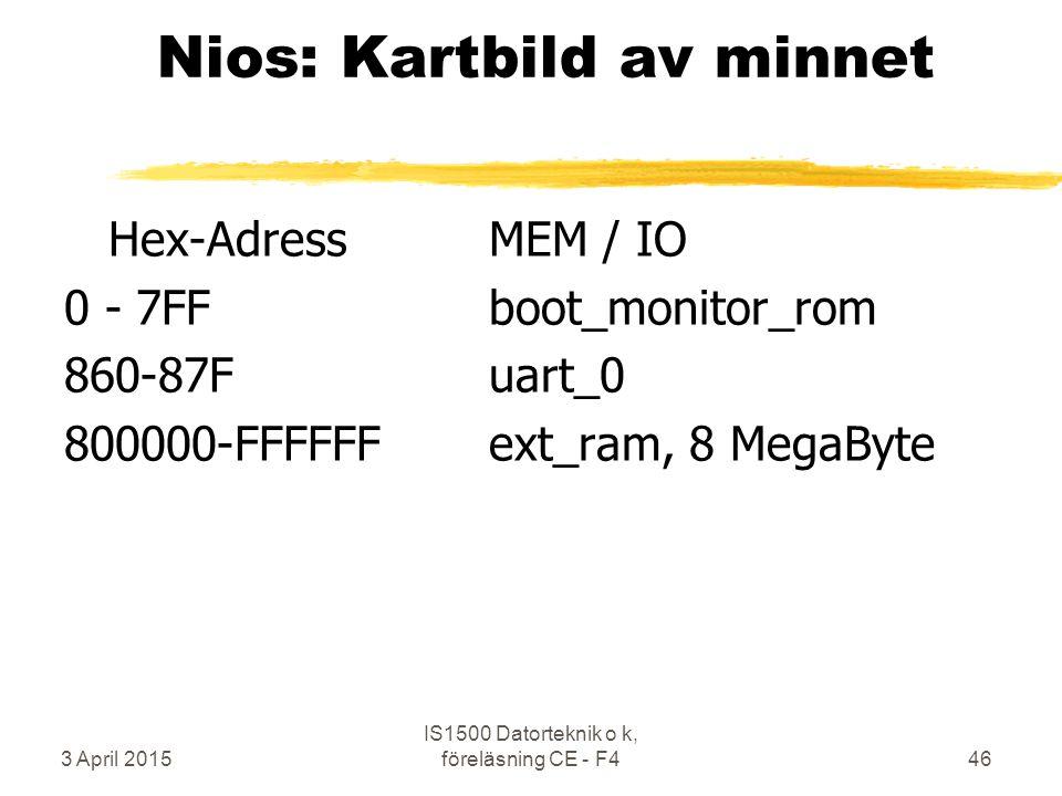 3 April 2015 IS1500 Datorteknik o k, föreläsning CE - F446 Nios: Kartbild av minnet Hex-AdressMEM / IO 0 - 7FFboot_monitor_rom 860-87Fuart_0 800000-FFFFFFext_ram, 8 MegaByte
