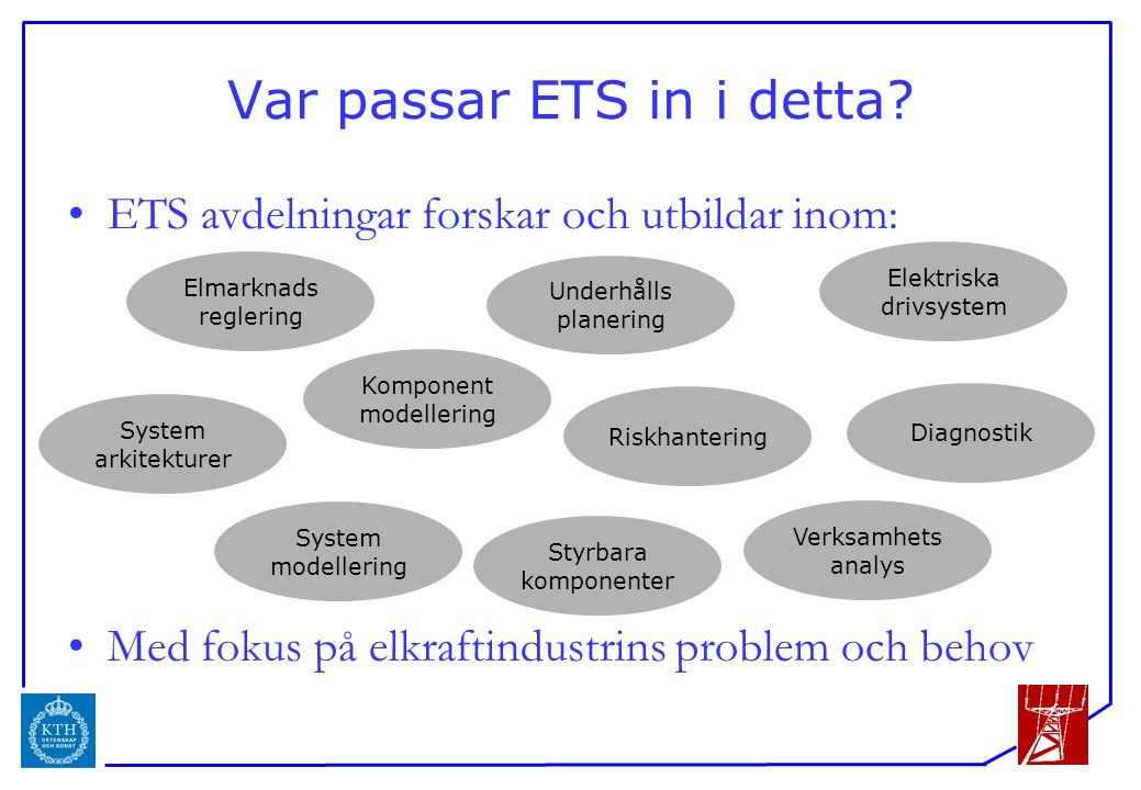 ICS Var passar ETS in i detta? ETS avdelningar forskar och utbildar inom: Med fokus på elkraftindustrins problem och behov Elmarknads reglering Underh