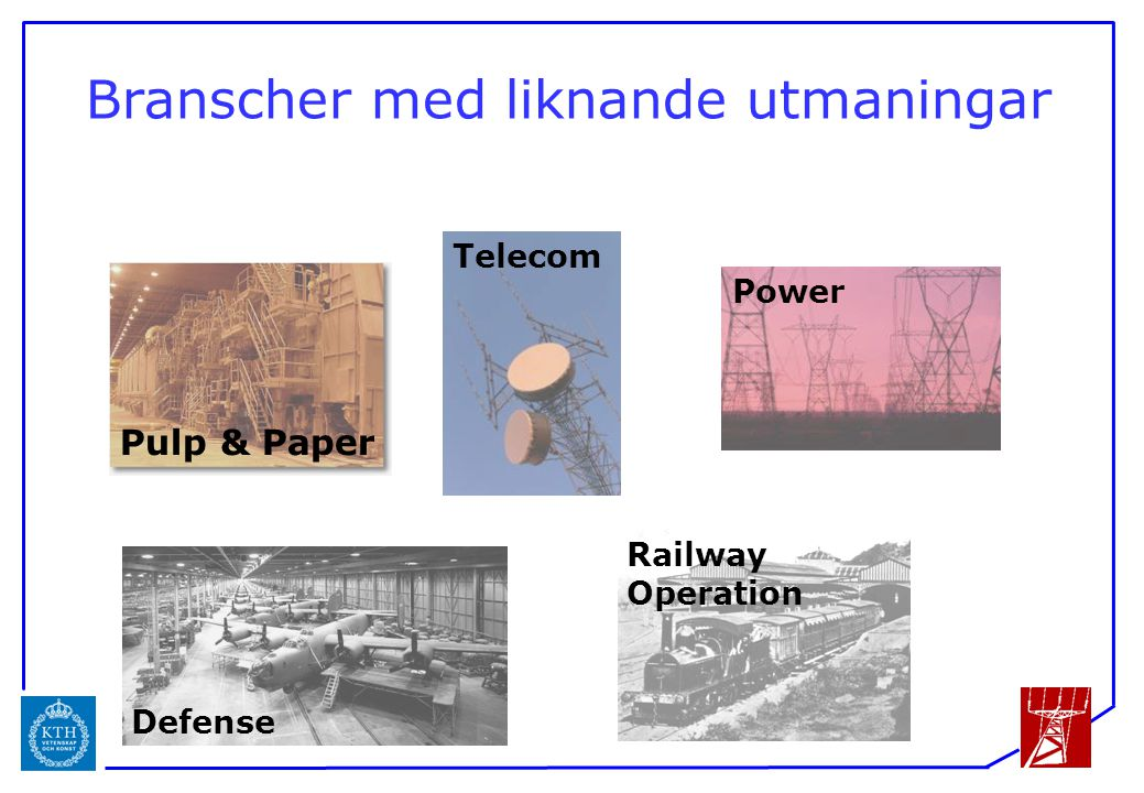 ICS Branscher med liknande utmaningar Power Telecom Defense Railway Operation Pulp & Paper