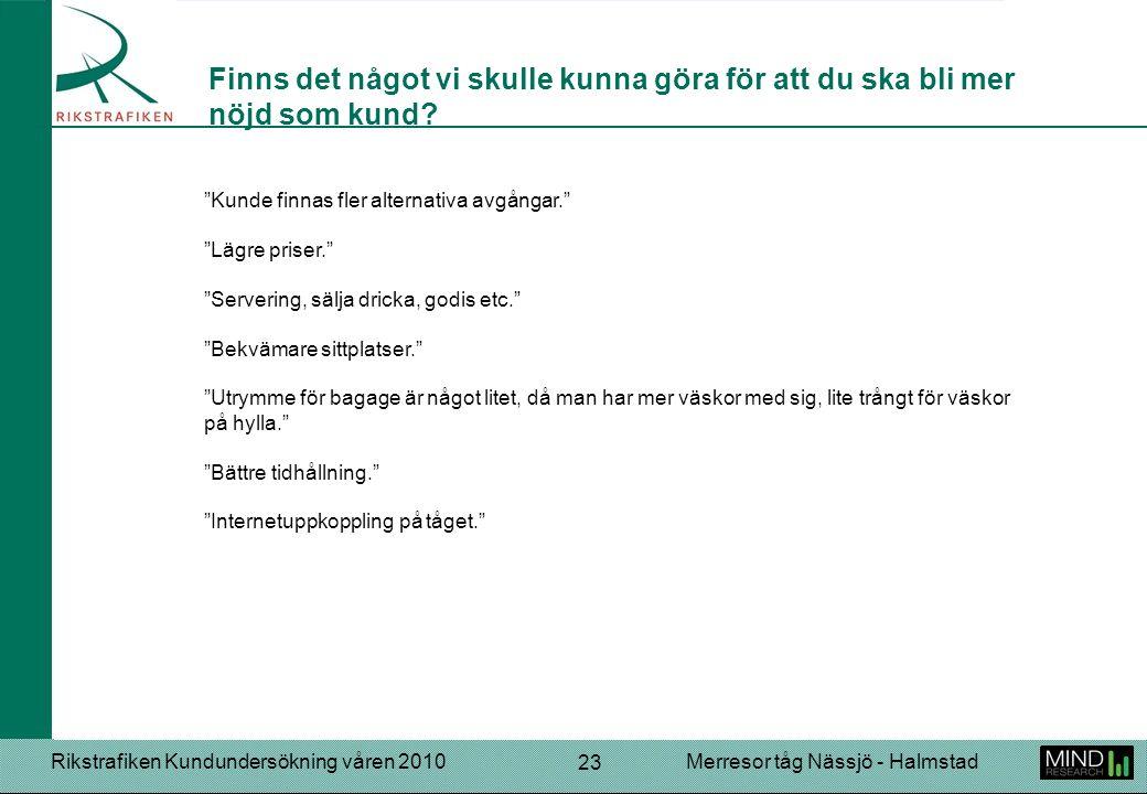 """Rikstrafiken Kundundersökning våren 2010Merresor tåg Nässjö - Halmstad 23 """"Kunde finnas fler alternativa avgångar."""" """"Lägre priser."""" """"Servering, sälja"""