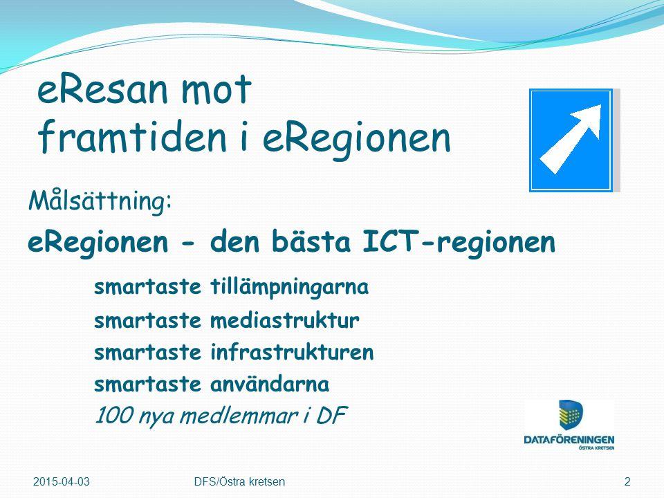 Målsättning: eRegionen - den bästa ICT-regionen smartaste tillämpningarna smartaste mediastruktur smartaste infrastrukturen smartaste användarna 100 nya medlemmar i DF 2015-04-03DFS/Östra kretsen2 eResan mot framtiden i eRegionen