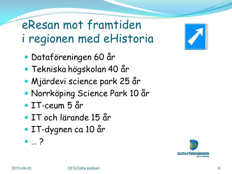 eResan mot framtiden i regionen med eHistoria Dataföreningen 60 år Tekniska högskolan 40 år Mjärdevi science park 25 år Norrköping Science Park 10 år IT-ceum 5 år IT och lärande 15 år IT-dygnen ca 10 år … .