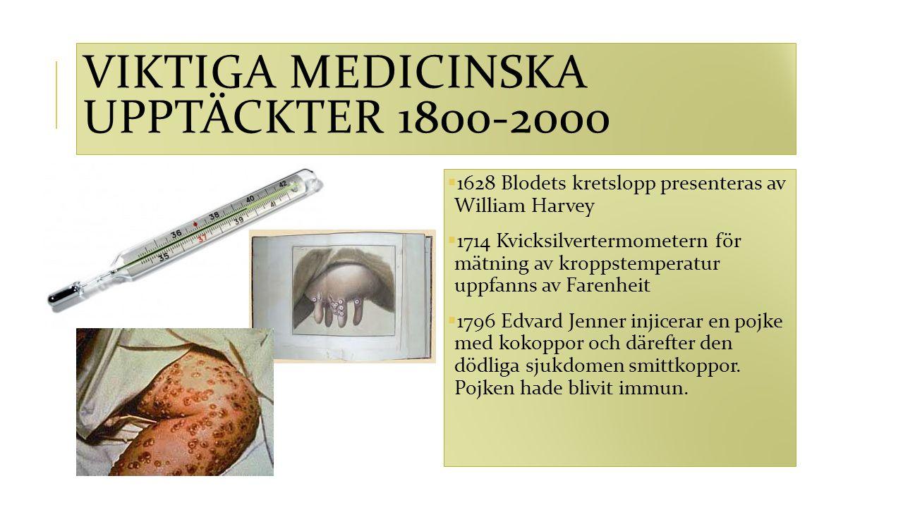 VIKTIGA MEDICINSKA UPPTÄCKTER 1800-2000  1628 Blodets kretslopp presenteras av William Harvey  1714 Kvicksilvertermometern för mätning av kroppstemp