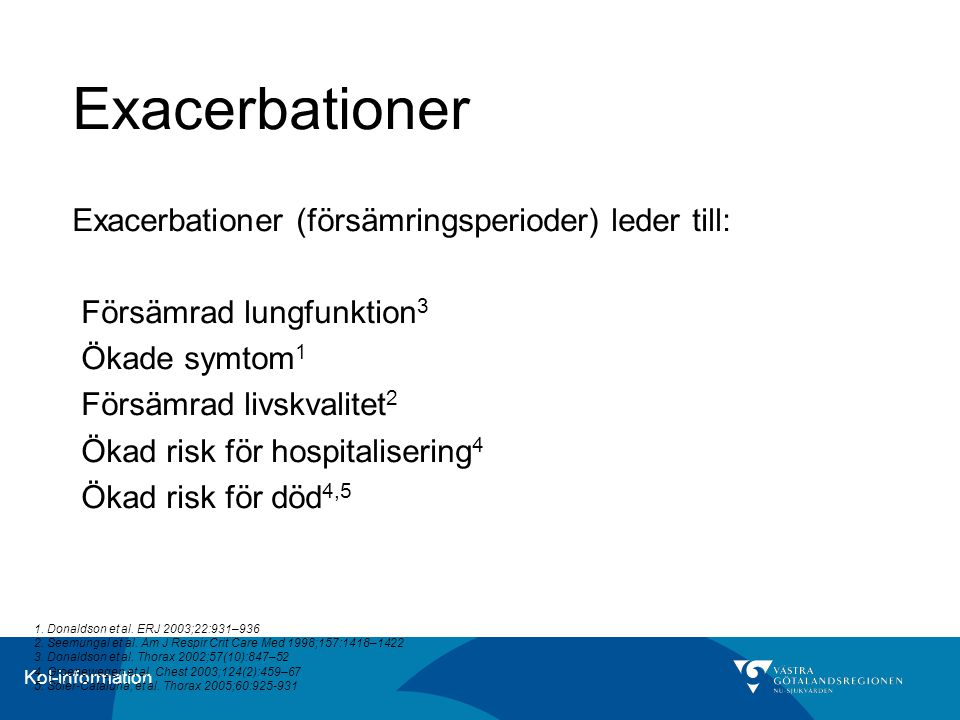 Kol-information Exacerbationer Exacerbationer (försämringsperioder) leder till: Försämrad lungfunktion 3 Ökade symtom 1 Försämrad livskvalitet 2 Ökad