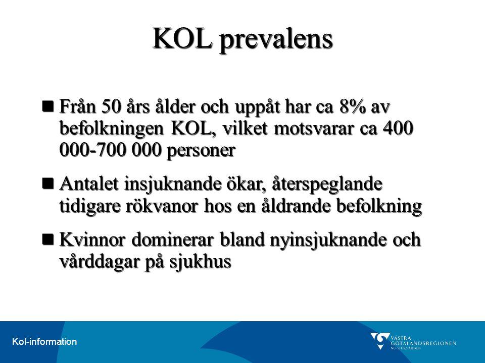 Kol-information Från 50 års ålder och uppåt har ca 8% av befolkningen KOL, vilket motsvarar ca 400 000-700 000 personer Från 50 års ålder och uppåt ha