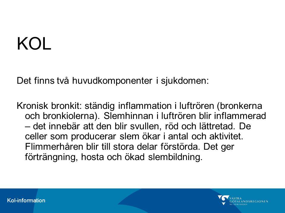 Kol-information KOL Det finns två huvudkomponenter i sjukdomen: Kronisk bronkit: ständig inflammation i luftrören (bronkerna och bronkiolerna). Slemhi