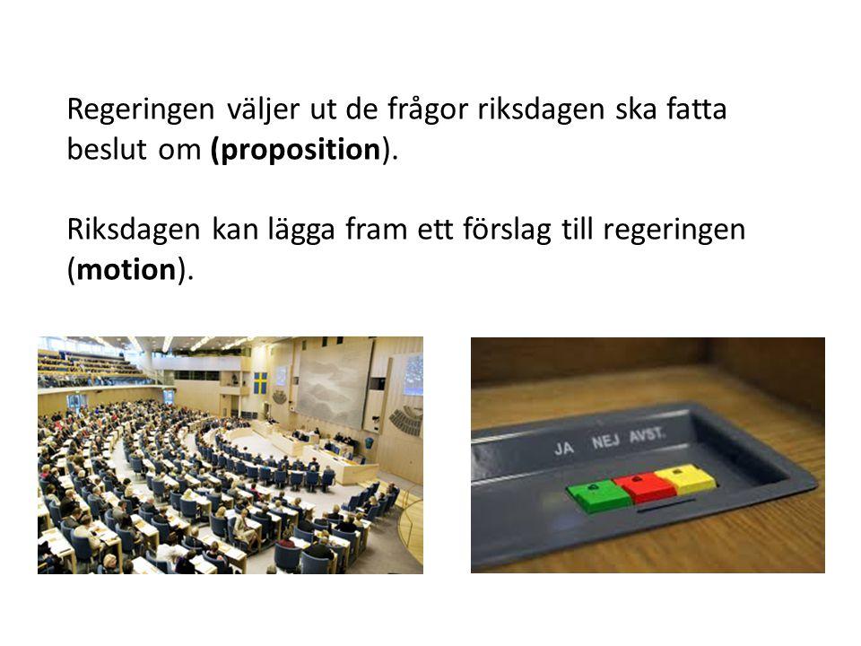 Regeringen väljer ut de frågor riksdagen ska fatta beslut om (proposition). Riksdagen kan lägga fram ett förslag till regeringen (motion).