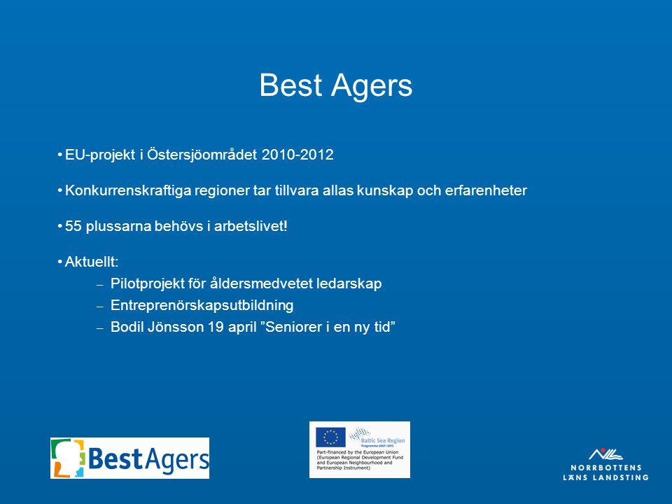 Best Agers EU-projekt i Östersjöområdet 2010-2012 Konkurrenskraftiga regioner tar tillvara allas kunskap och erfarenheter 55 plussarna behövs i arbetslivet.