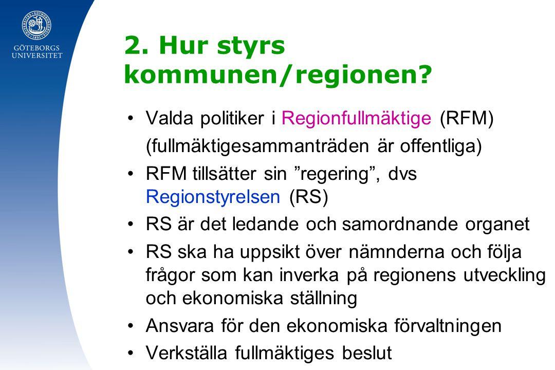 """2. Hur styrs kommunen/regionen? Valda politiker i Regionfullmäktige (RFM) (fullmäktigesammanträden är offentliga) RFM tillsätter sin """"regering"""", dvs R"""