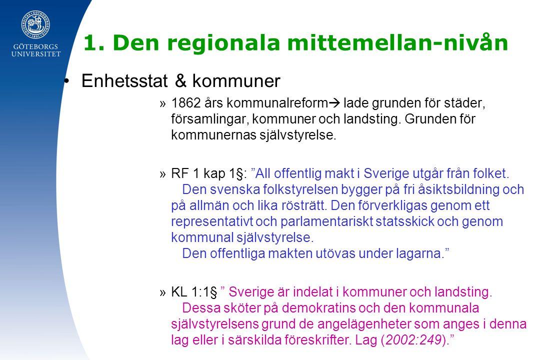 1. Den regionala mittemellan-nivån Enhetsstat & kommuner »1862 års kommunalreform  lade grunden för städer, församlingar, kommuner och landsting. Gru