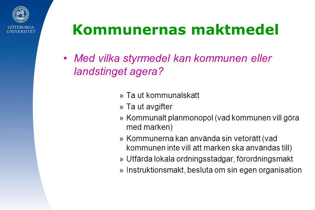 Regionaliseringen »Många frågor har varit större än själva kommungränsen, t ex i Stockholm, Göteborg och i Malmö »Många utredningar har sedan 1950-talet pekat på att storstadsområdena behöver mer slagkraftiga organisatoriska lösningar, t ex vad gäller vägbyggen, infrastruktur, bostadsbyggande och sjukvården »Stockholms kommun och landsting har kunnat samverka mer långtgående med sina kranskommuner genom undantag i Kommunallagen »Krav på regionbildning restes i Västra Götaland och Skåne, infördes sedan på försöksbasis 1997 i Skåne och 1998 i Västra Götaland Petersson s.