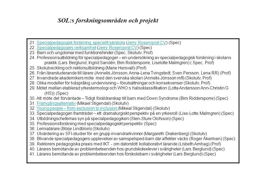 SOL:s forskningsområden och projekt 39.