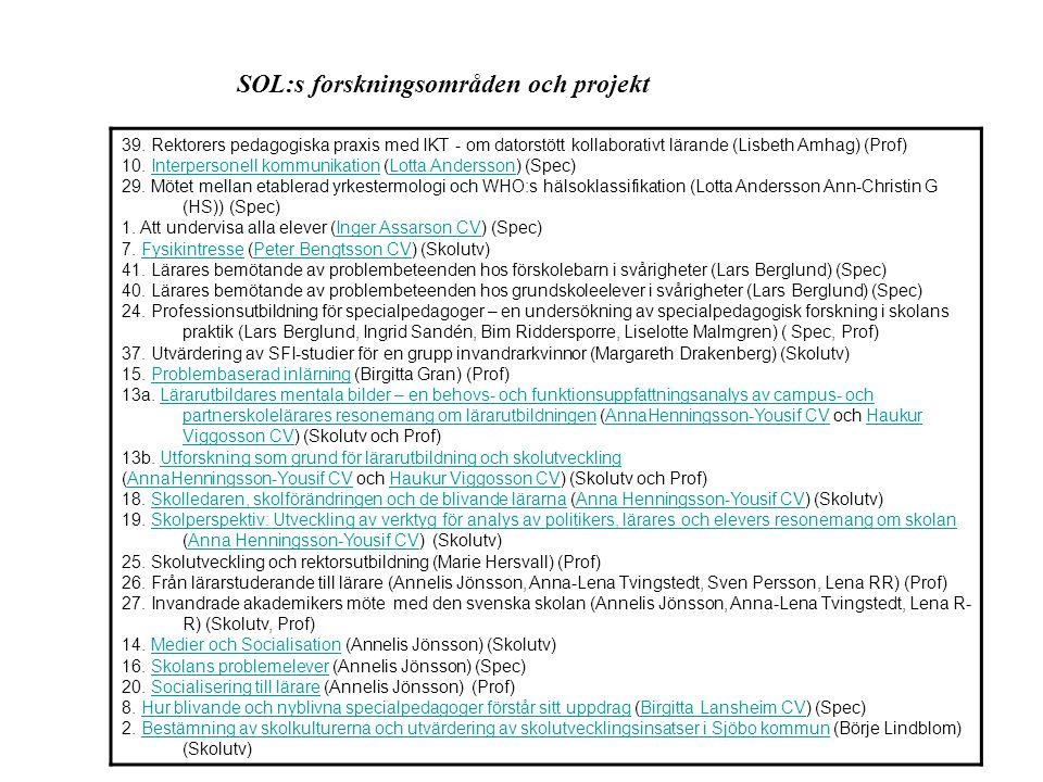 SOL:s forskningsområden och projekt 6.