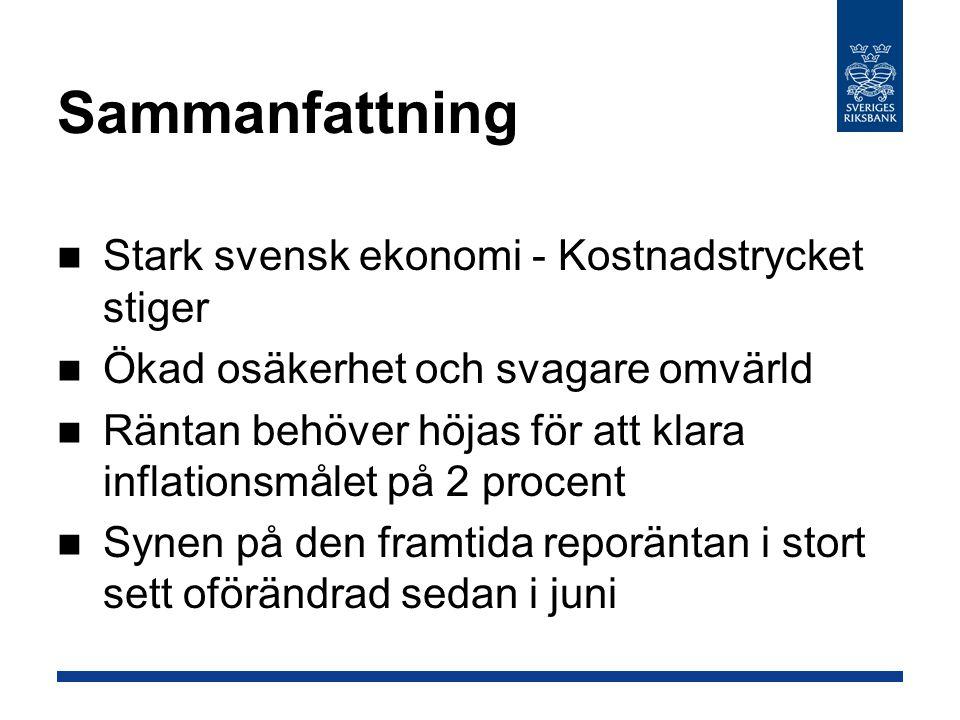 Sammanfattning Stark svensk ekonomi - Kostnadstrycket stiger Ökad osäkerhet och svagare omvärld Räntan behöver höjas för att klara inflationsmålet på 2 procent Synen på den framtida reporäntan i stort sett oförändrad sedan i juni