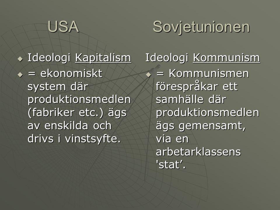 USA Sovjetunionen USA Sovjetunionen  Ideologi Kapitalism  = ekonomiskt system där produktionsmedlen (fabriker etc.) ägs av enskilda och drivs i vins