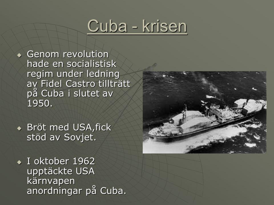 Cuba - krisen  Genom revolution hade en socialistisk regim under ledning av Fidel Castro tillträtt på Cuba i slutet av 1950.  Bröt med USA,fick stöd