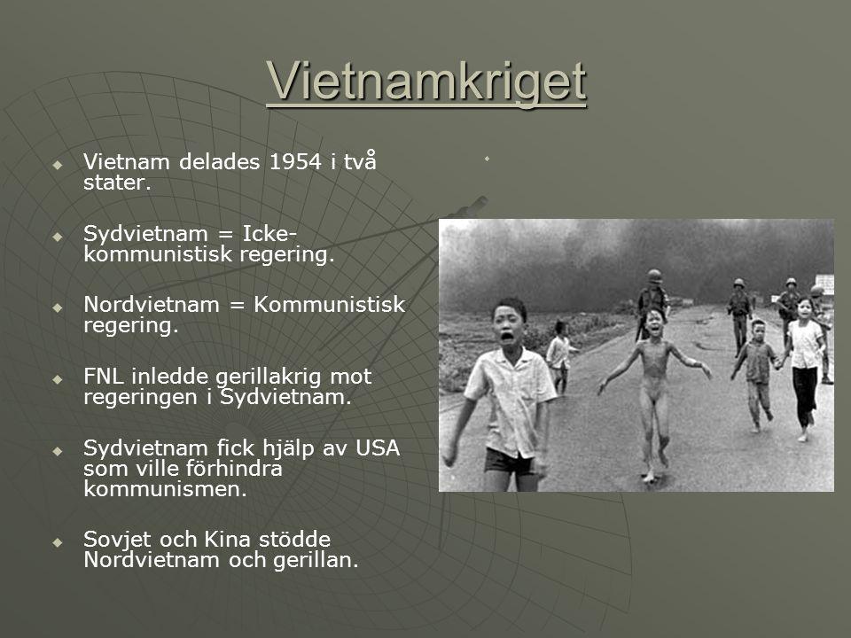 Vietnamkriget VVietnam delades 1954 i två stater. SSydvietnam = Icke- kommunistisk regering. NNordvietnam = Kommunistisk regering. FFN
