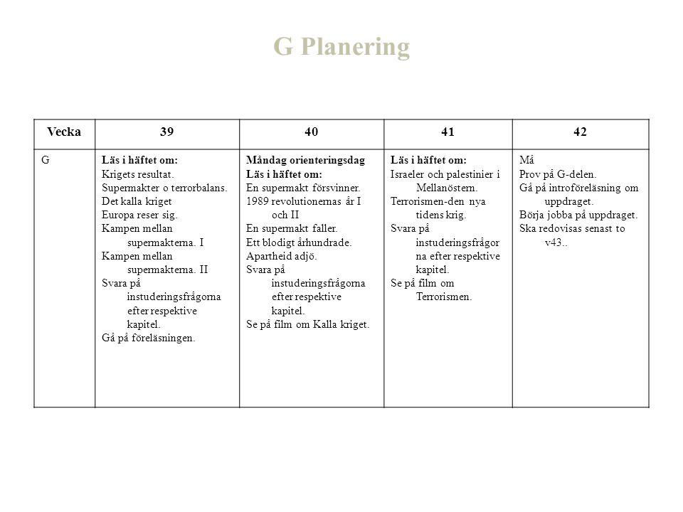 G Planering Vecka39404142 GLäs i häftet om: Krigets resultat. Supermakter o terrorbalans. Det kalla kriget Europa reser sig. Kampen mellan supermakter