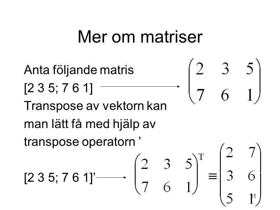 11 Mer om matriser Anta följande matris [2 3 5; 7 6 1] Transpose av vektorn kan man lätt få med hjälp av transpose operatorn ' [2 3 5; 7 6 1]'
