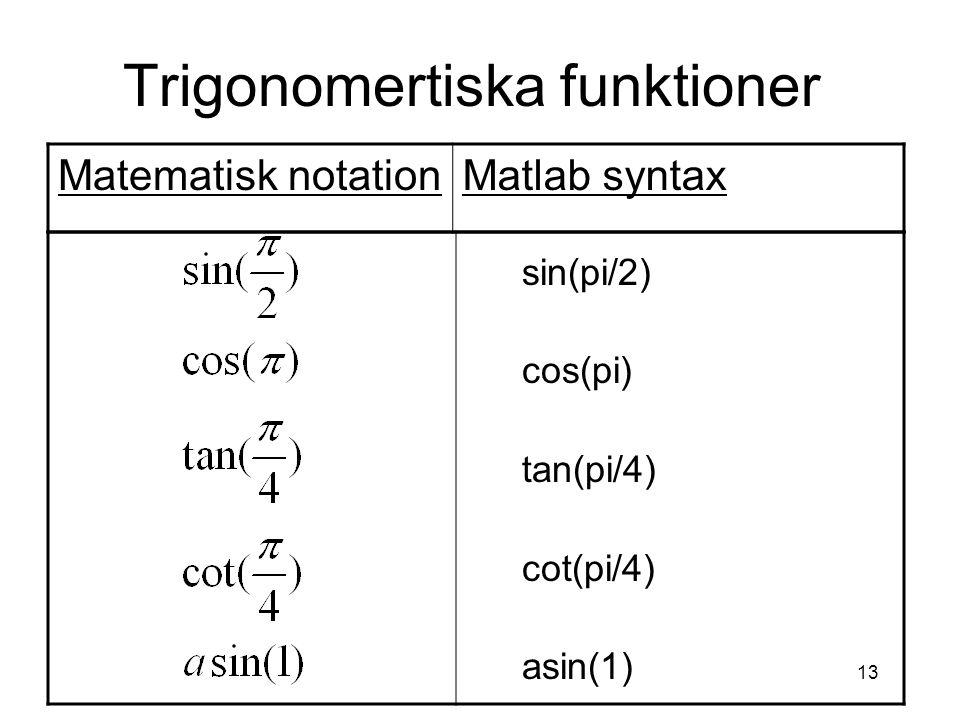 13 Trigonomertiska funktioner sin(pi/2) cos(pi) tan(pi/4) cot(pi/4) asin(1) Matematisk notationMatlab syntax