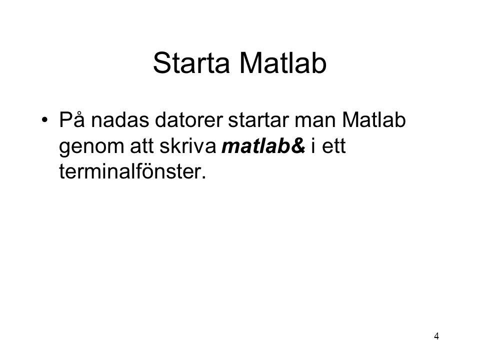 4 Starta Matlab På nadas datorer startar man Matlab genom att skriva matlab& i ett terminalfönster.