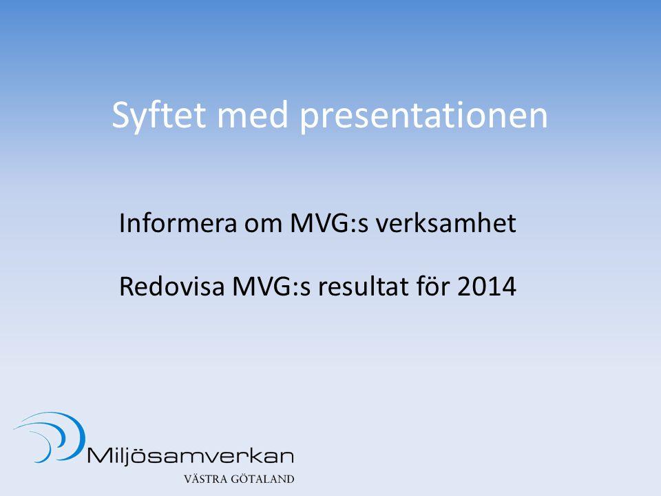 Syftet med presentationen Informera om MVG:s verksamhet Redovisa MVG:s resultat för 2014