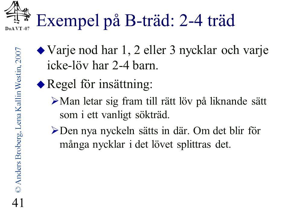 DoA VT -07 © Anders Broberg, Lena Kallin Westin, 2007 41 Exempel på B-träd: 2-4 träd  Varje nod har 1, 2 eller 3 nycklar och varje icke-löv har 2-4 barn.