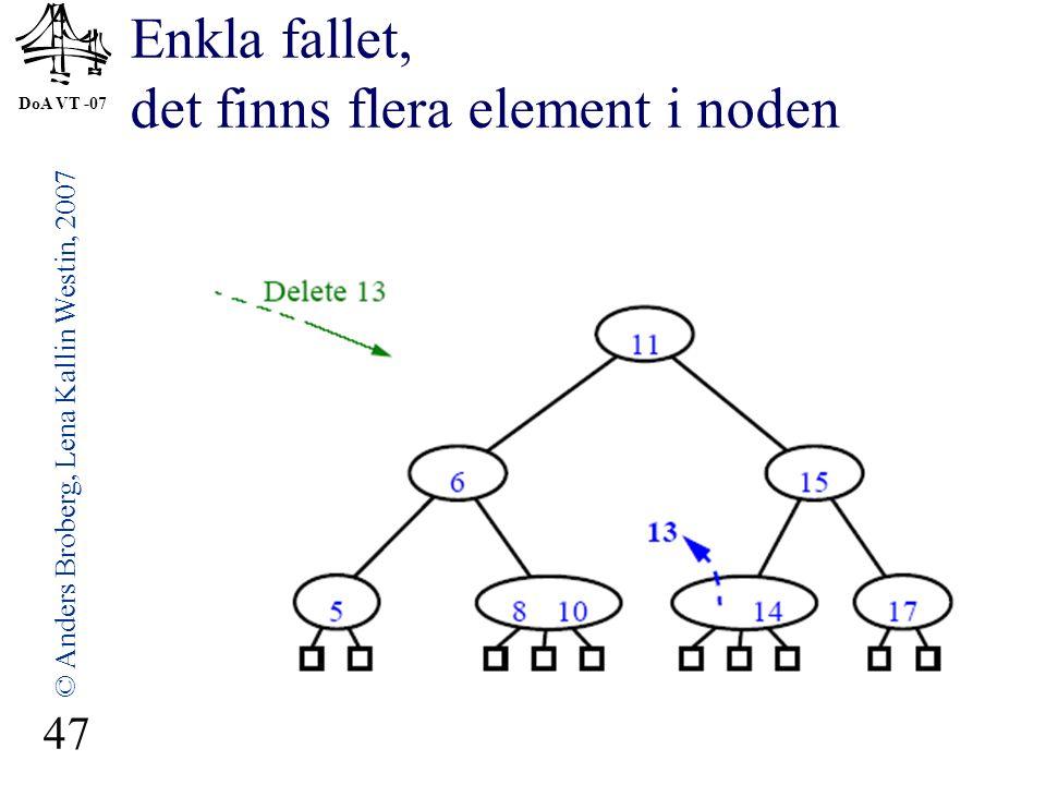 DoA VT -07 © Anders Broberg, Lena Kallin Westin, 2007 47 Enkla fallet, det finns flera element i noden
