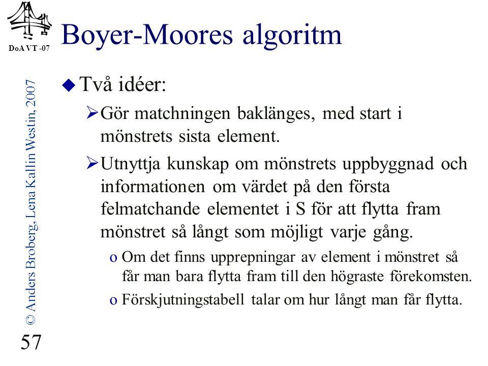 DoA VT -07 © Anders Broberg, Lena Kallin Westin, 2007 57 Boyer-Moores algoritm  Två idéer:  Gör matchningen baklänges, med start i mönstrets sista element.