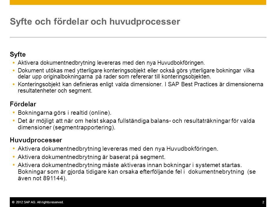 ©2012 SAP AG. All rights reserved.2 Syfte och fördelar och huvudprocesser Syfte  Aktivera dokumentnedbrytning levereras med den nya Huvudbokföringen.