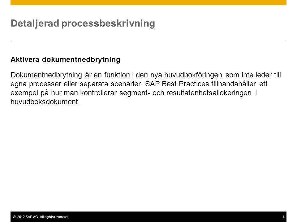 ©2012 SAP AG. All rights reserved.4 Detaljerad processbeskrivning Aktivera dokumentnedbrytning Dokumentnedbrytning är en funktion i den nya huvudbokfö