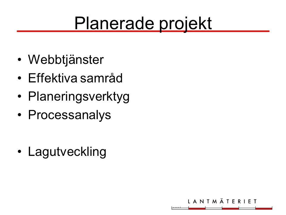 Planerade projekt Webbtjänster Effektiva samråd Planeringsverktyg Processanalys Lagutveckling